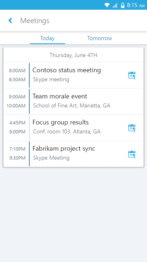 Skype for Business for Android Meetings